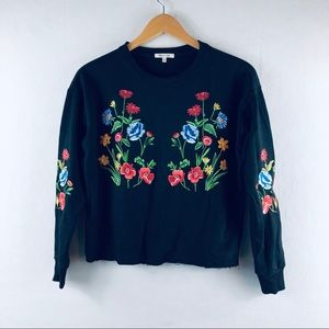 embroidered Floral Crop Sweater Small Long Sleeve